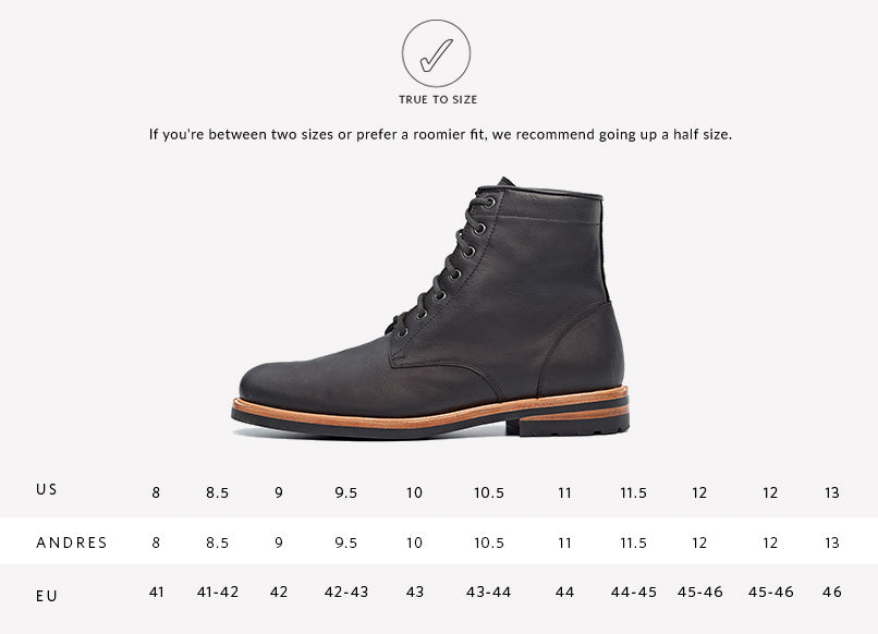 Nisolo Men's Andres All Weather Boot Black Sizing Guide