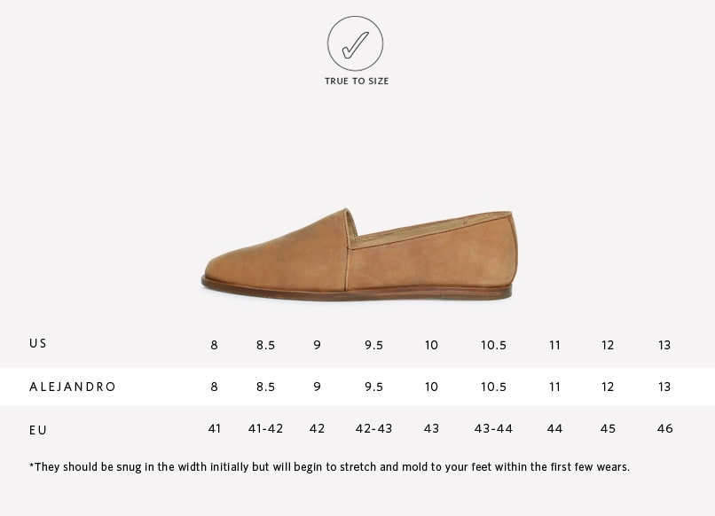 Sizing Guide for Alejandro Slip On in Tobacco