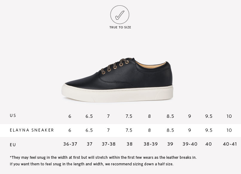 Elayna Leather Sneaker Black Sizing Guide