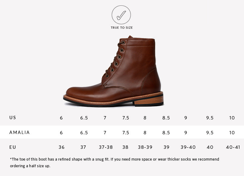 Nisolo Women's Amalia All Weather Boot in brandy | Sizing Guide | True to Size