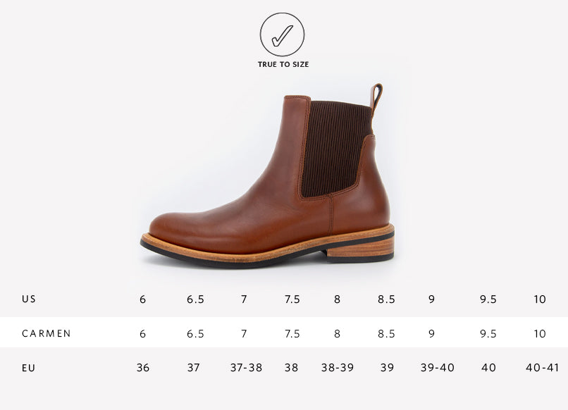 Nisolo Women's Carmen Chelsea Boot Brandy Sizing Guide