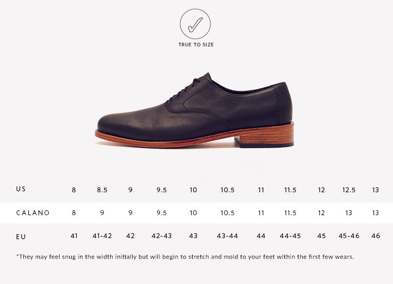 Nisolo Mens Calano Oxford Black Sizing Guide
