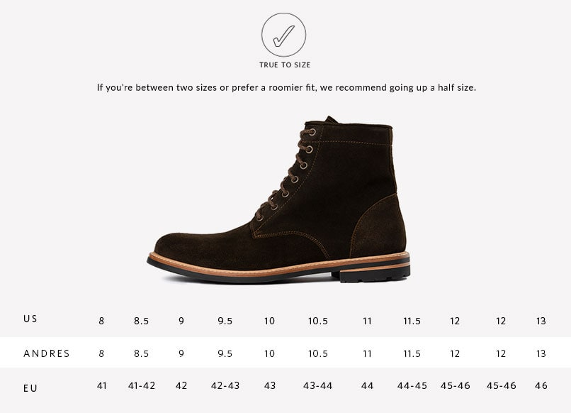 Nisolo Men's Andres All Weather Boot in Dark Olive Suede   Sizing Guide   True to Size