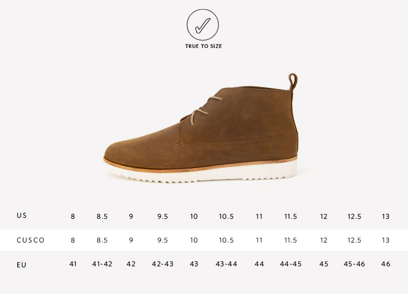 Nisolo Men's Cusco Chukka Boot in Tobacco Sizing Guide