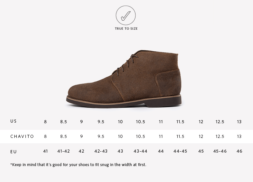 Chavito Chukka Boot Waxed Brown Sizing Chart
