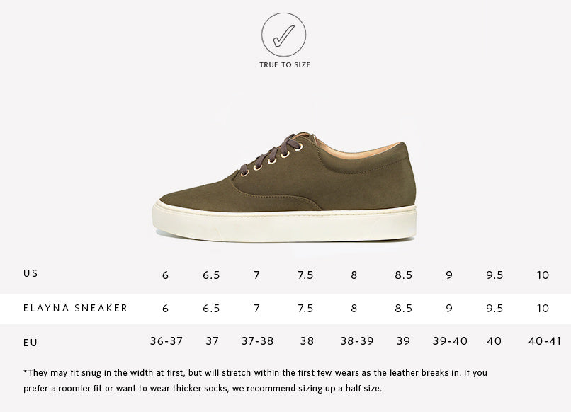 Sizing Guide for Nisolo Women's Elayna Sneaker in Moss
