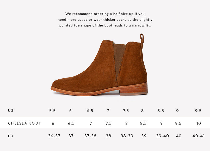 Nisolo Women's Chelsea Boot in Nutmeg Sizing Guide