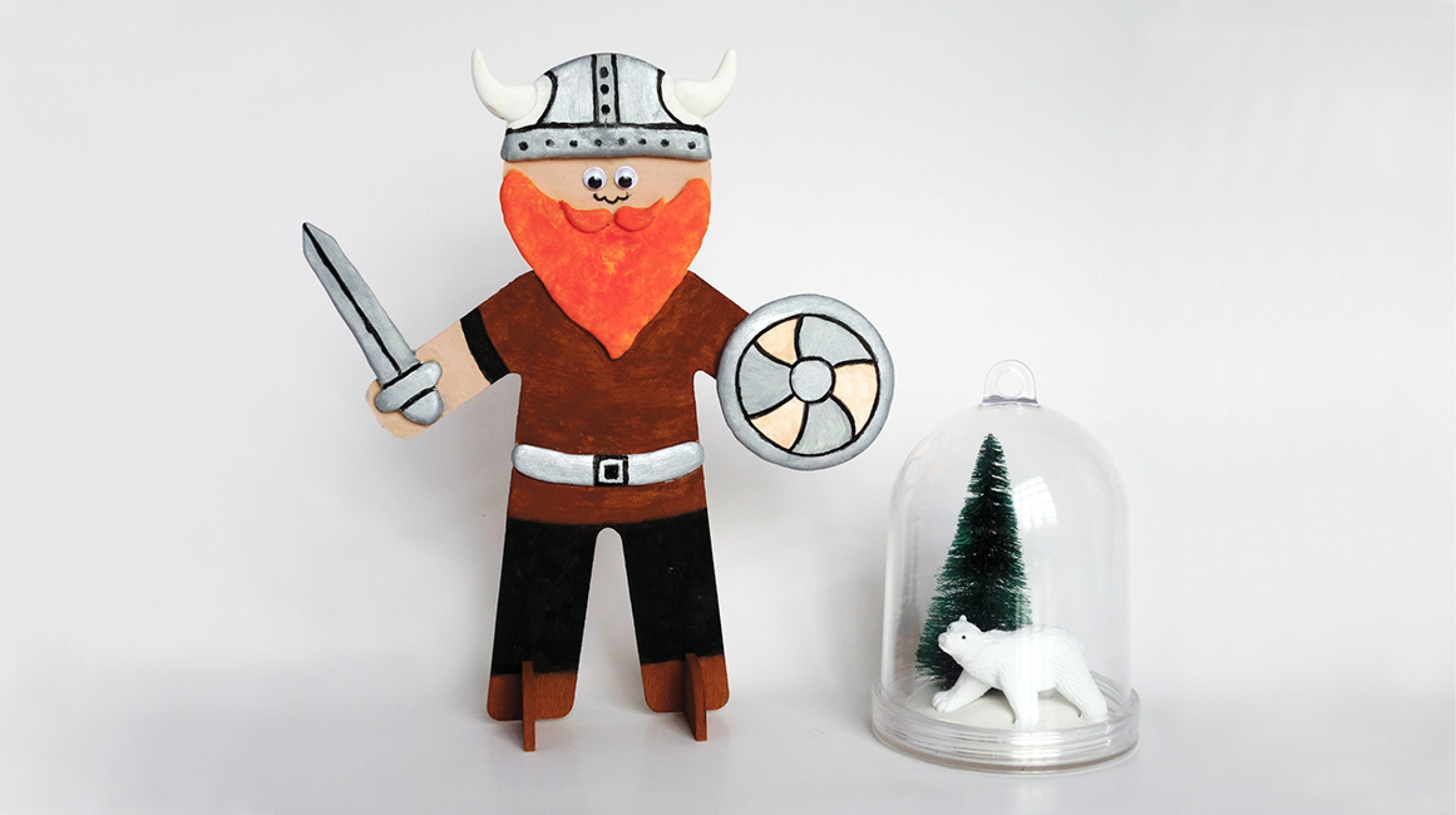 Viking Warrior and Hanging Winter Cloche