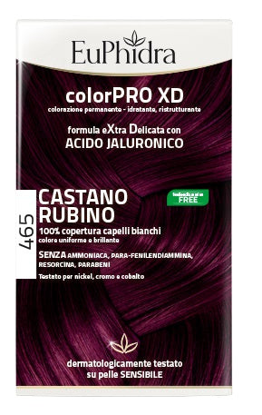 EUPHIDRA COLORPRO XD 465 CAST RUBINO GEL COLORANTE CAPELLI IN FLACONE + ATTIVANTE + BALSAMO + GUANTI