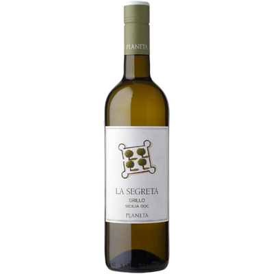 Bottle of Grillo white wine from Sicily in Italy