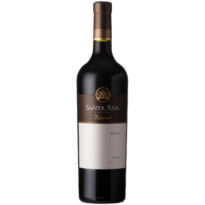 Bottle of Malbec reserva red wine from Argentina
