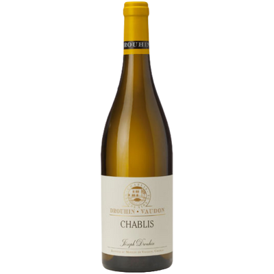 Bottle of Chardonnay white wine from Chablis France