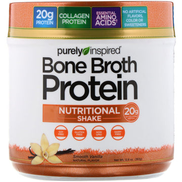 Purely Inspired, Bone Broth Protein Nutritional Shake, Smooth Vanilla, 12.8 oz (363 g)