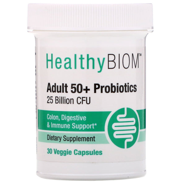 HealthyBiom, Adult 50+ Probiotics, 25 Billion CFU, 30 Veggie Capsules
