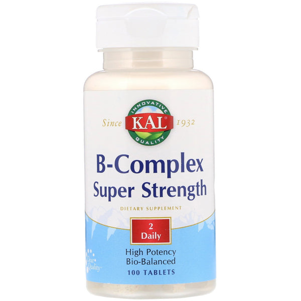 KAL, B-Complex Super Strength, 100 Tablets - The Supplement Shop