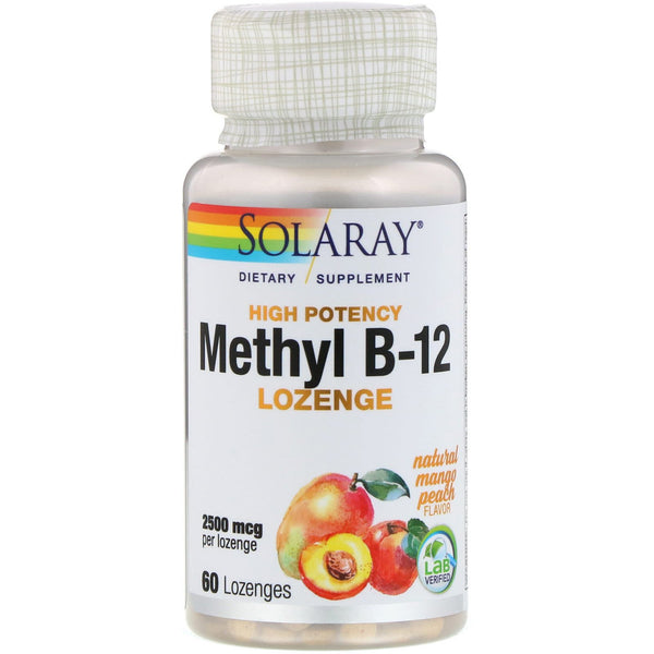 Solaray, High Potency Methyl B-12, Natural Mango Peach, 2,500 mcg, 60 Lozenges - The Supplement Shop