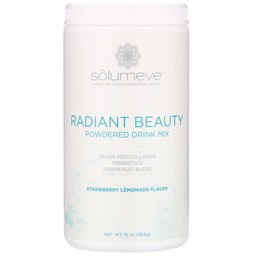 Solumeve, Radiant Beauty, Grass-Fed Collagen, Probiotics & Superfruits Powdered Drink Mix, Strawberry Lemonade, 16 oz (454 g)