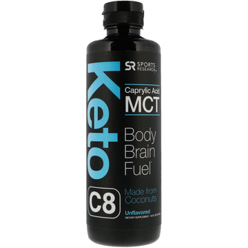 Sports Research, Keto C8, Caprylic Acid MCT, Unflavored, 16 fl oz (473 ml)