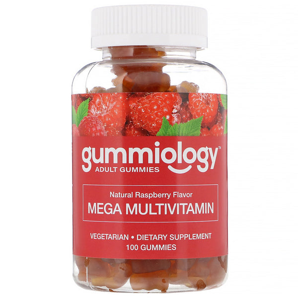 Gummiology, Adult Mega Multivitamins Gummies, Natural Raspberry Flavor, 100 Vegetarian Gummies