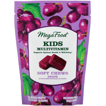 MegaFood, Kids Multivitamin Soft Chews, Grape, 30 Individually Wrapped Soft Chews