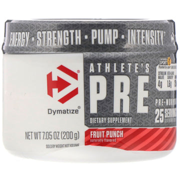 Dymatize Nutrition, Athlete's Pre, Pre-Workout, Fruit Punch, 7.05 oz (200 g)