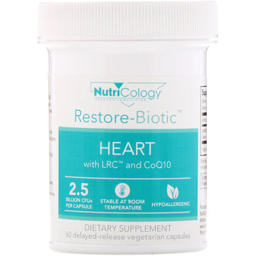 Nutricology, Restore-Biotic, Heart with LRC and CoQ10, 2.5 Billion CFU, 60 Delayed-Release Vegetarian Capsules