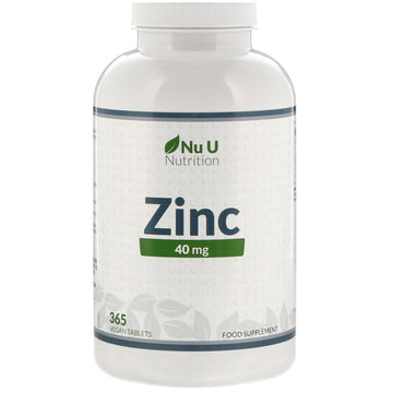 Nu U Nutrition, Zinc, 40 mg, 365 Vegan Tablets