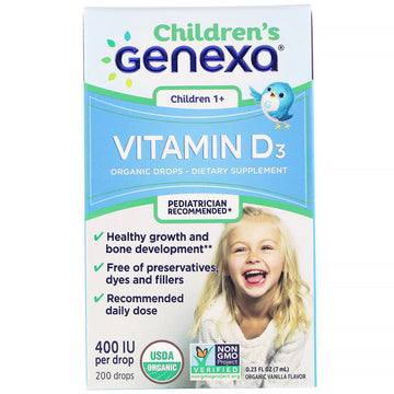 Genexa, Children's Vitamin D3, Children 1+, Organic Vanilla Flavor,  400 IU, 0.23 fl oz (7 ml)