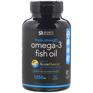 Sports Research, Omega-3 Fish Oil, Triple Stength, 1,250 mg, 90 Softgels