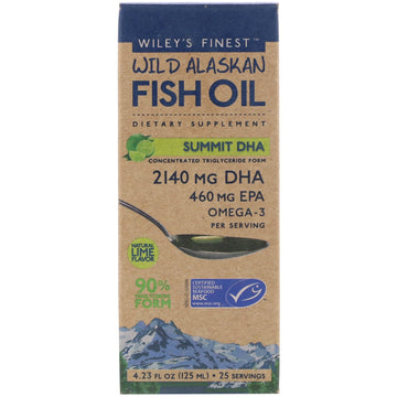 Wiley's Finest, Wild Alaskan Fish Oil, Summit DHA, Natural Lime Flavor, 4.23 fl oz (125 ml)