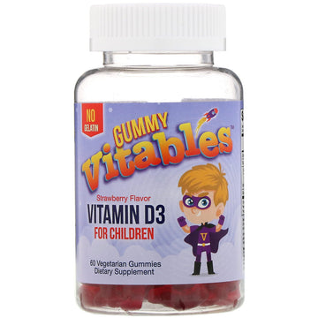 Vitables, Gummy Vitamin D3 for Children, Strawberry Flavor, 60 Vegetarian Gummies