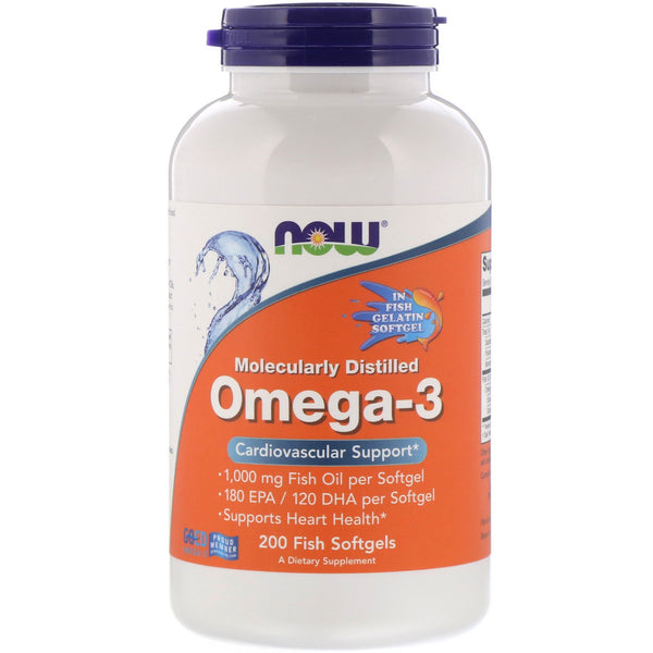 Now Foods, Molecularly Distilled Omega-3, 200 Fish Softgels - The Supplement Shop