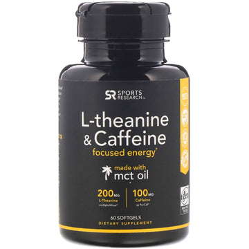 Sports Research, L-Theanine & Caffeine with MCT Oil, 60 Softgels