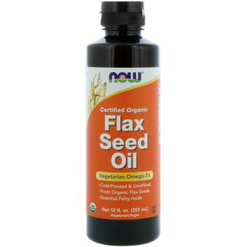 Now Foods, Certified Organic, Flax Seed Oil, 12 fl oz (355 ml)