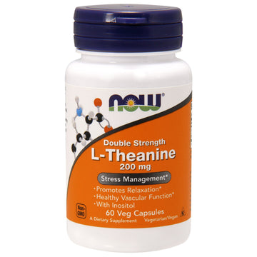 Now Foods, L-Theanine, Double Strength, 200 mg, 60 Veg Capsules
