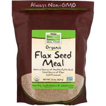 Now Foods, Real Food, Organic, Flax Seed Meal, 1.4 lbs (624 g)