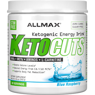 ALLMAX Nutrition, KetoCuts, Ketogenic Energy Drink, Blue Raspberry, 8.47 oz (240 g)