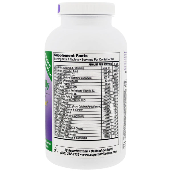 Super Nutrition, Perfect Family, Energizing Multi-Vitamin, Iron Free, 240 Vegetarian Food-Based Tablets