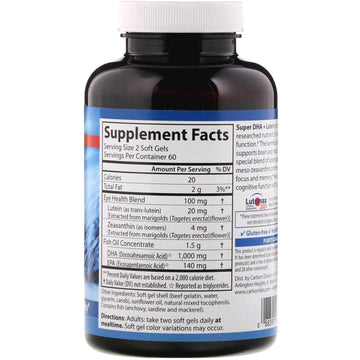Carlson Labs, Super DHA Plus Lutein, 120 Soft Gels