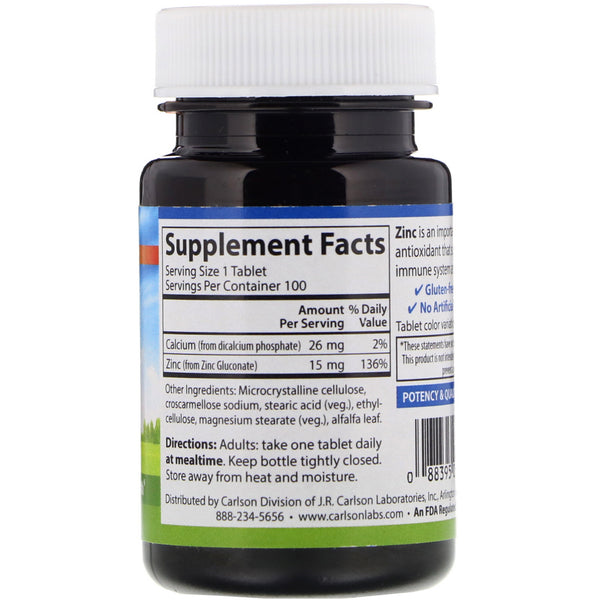 Carlson Labs, Zinc, 15 mg, 100 Tablets - The Supplement Shop