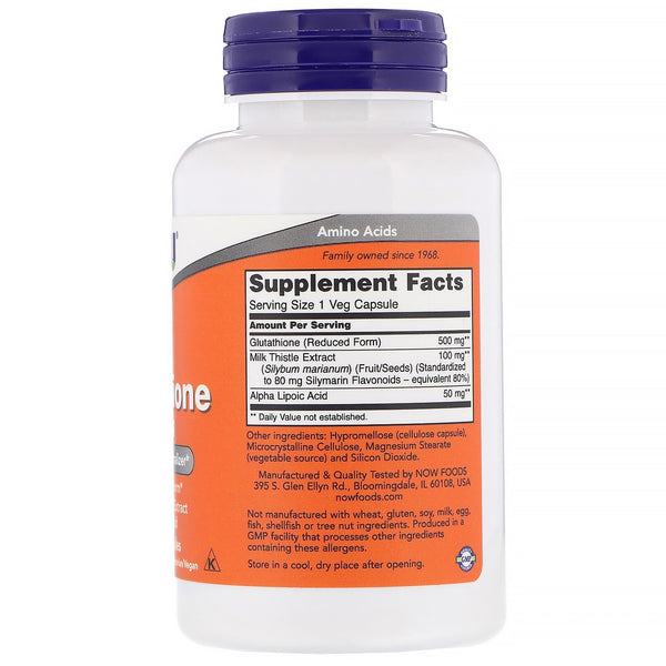 Now Foods, Glutathione, 500 mg, 60 Veg Capsules