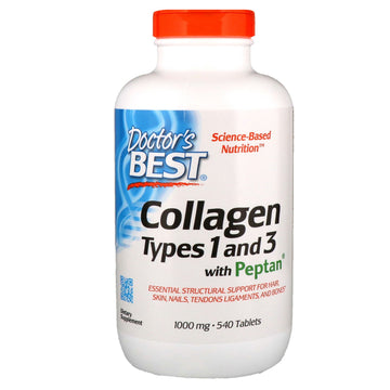 Doctor's Best, Collagen Types 1 and 3 with Peptan, 1,000 mg, 540 Tablets