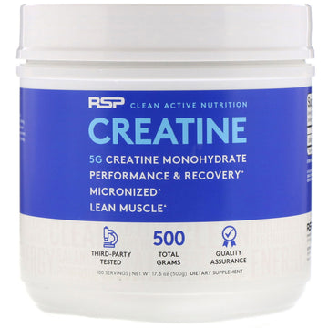 RSP Nutrition, Creatine Monohydrate, Micronized Creatine Powder, 5 g, 17.6 oz (500 g)