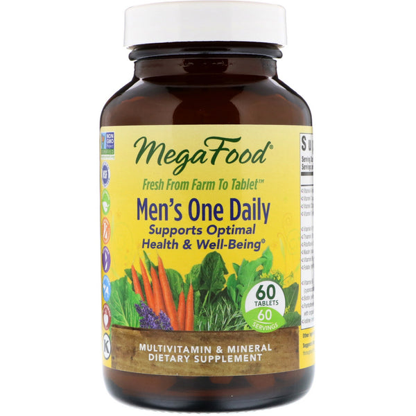 MegaFood, Men's One Daily, Iron Free, 60 Tablets - The Supplement Shop