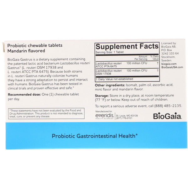 BioGaia, Gastrus, For GI Tract, Mandarin Flavored, 30 Chewable Tablets