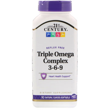 21st Century, Triple Omega Complex 3-6-9, 90 Enteric Coated Softgels