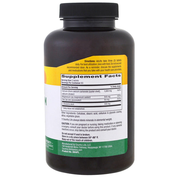 Country Life, Calcium Magnesium Zinc, 250 Tablets - The Supplement Shop