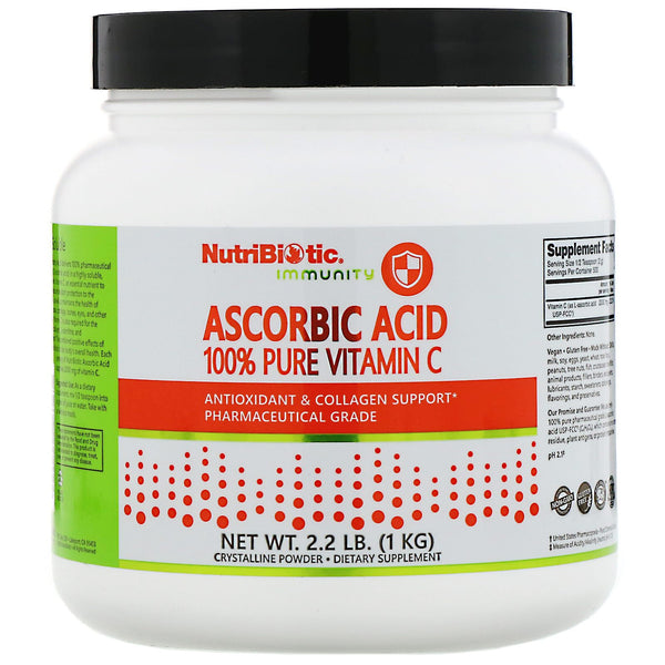 NutriBiotic, Immunity, Ascorbic Acid, 100% Pure Vitamin C, Crystalline Powder, 2.2 lb (1 kg)