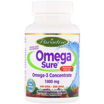 Paradise Herbs, Omega Sure, Omega-3 Premium Fish Oil, 1,000 mg, 30 Pesco Vegetarian Softgels