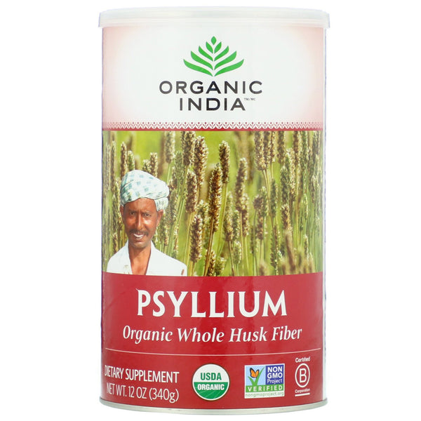 Organic India, Psyllium, Organic Whole Husk Fiber, 12 oz (340 g)